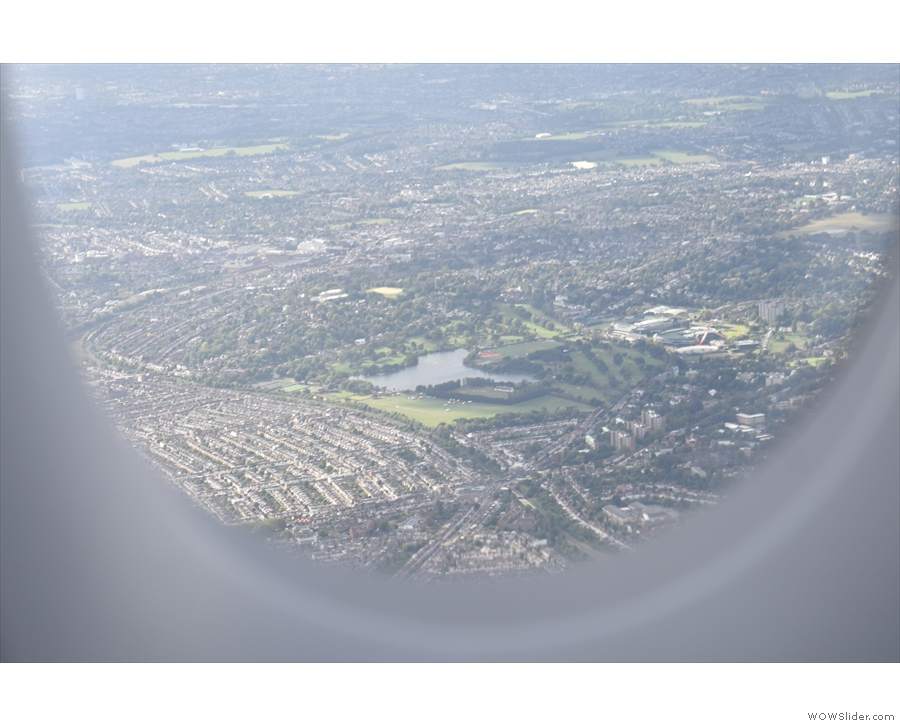 ... and that's Wimbledon Park Lake, with the Lawn Tennis club to the right.