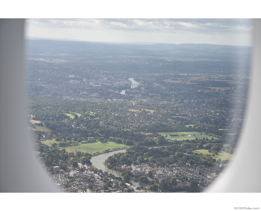 Say hello to the Thames. We're probably right over Richmond at this point.