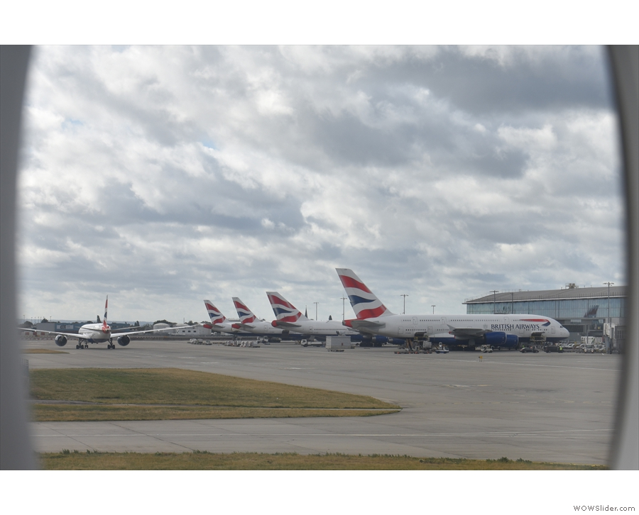 And here we are at Terminal 5, with its rows of British Airways planes.