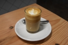 I began with a gorgeous cortado, made with the NCK house-blend. Served in a glass...