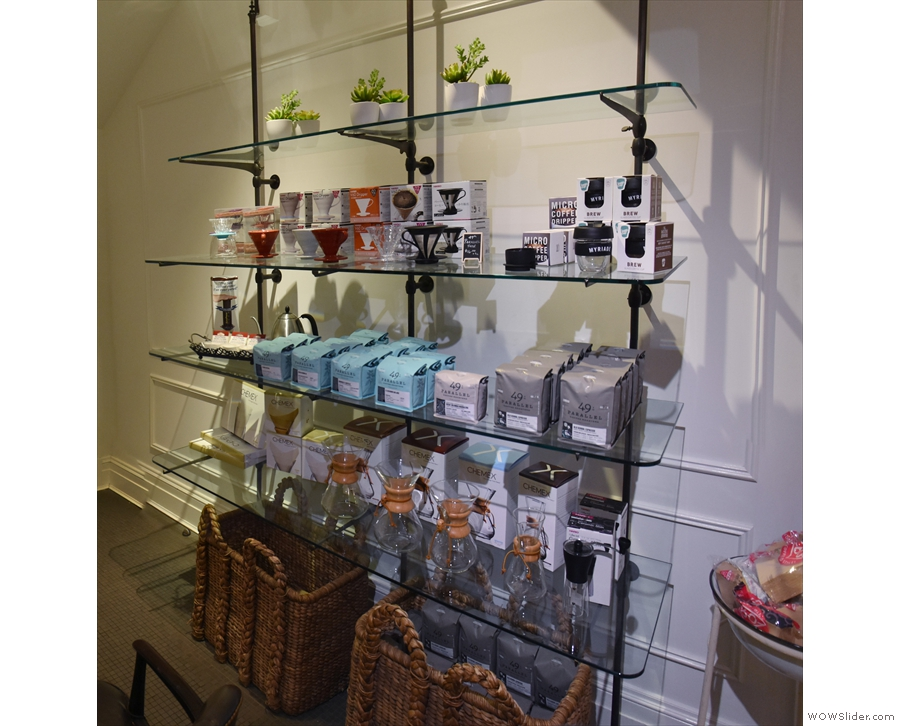 A well-stocked set of retail shelves is also tucked away under the stairs.