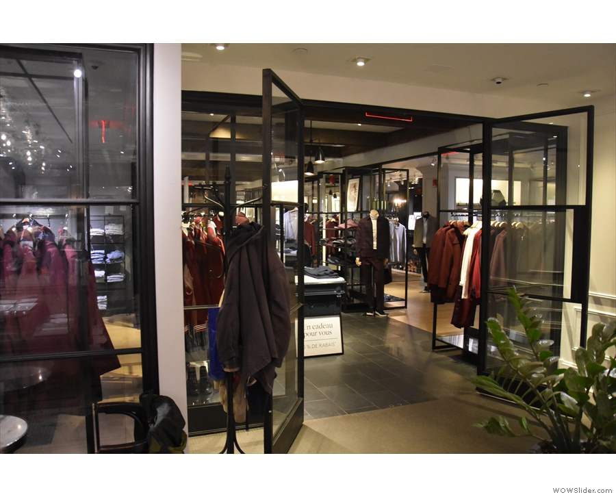 Meanwhile, off to your right, through these double doors, Club Monaco continues.