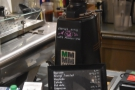 Meanwhile, off to the left, past the till, is the espresso grinder (Old School blend)...