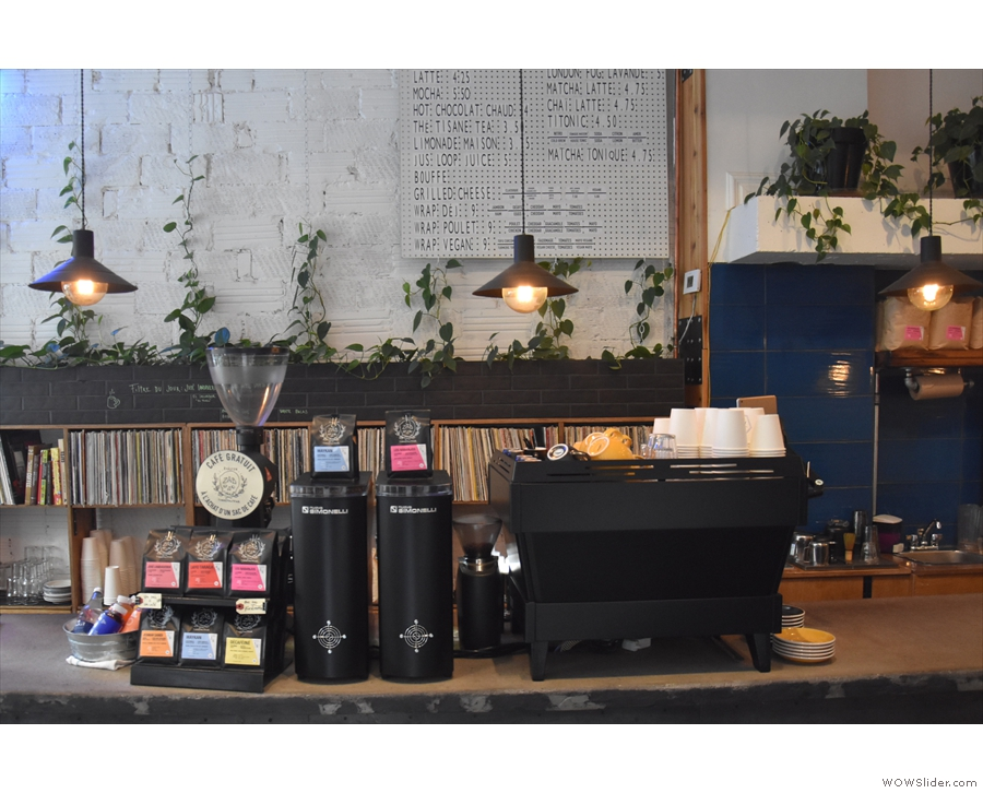 The La Marzocco Linea and its grinders, seen head on. The EK-43 is for filter, while...