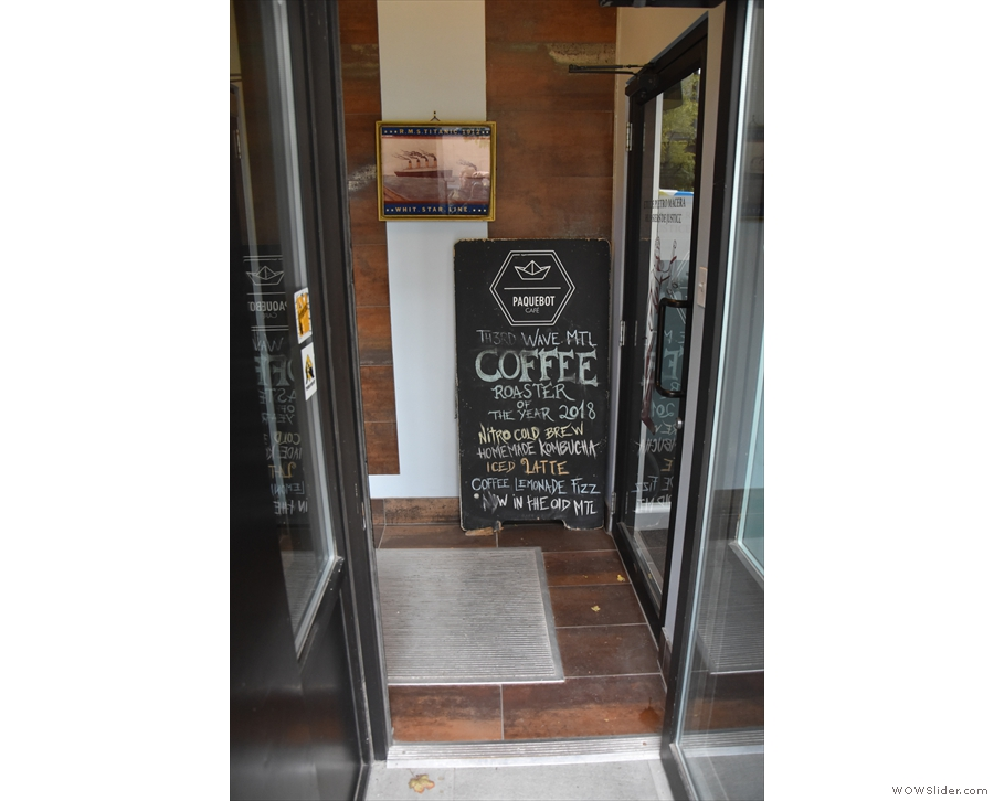It's only as you step inside that you encounter the A-board at the back of the lobby.
