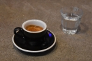 I visited three times. First, I had an espresso, served with a glass of sparkling water.