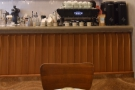 The counter (and the Kees van der Westen Spirit espresso machine), seen from my table.