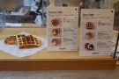 The counter starts with the food, in this case, waffles.