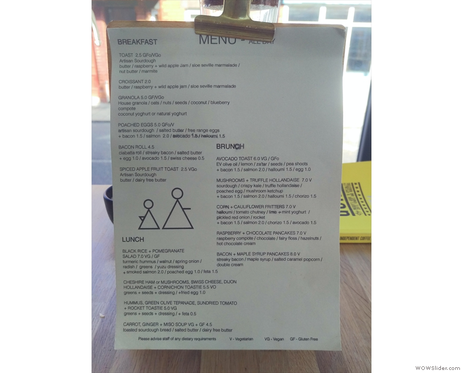 There's the food menu, with breakfast, brunch and lunch...