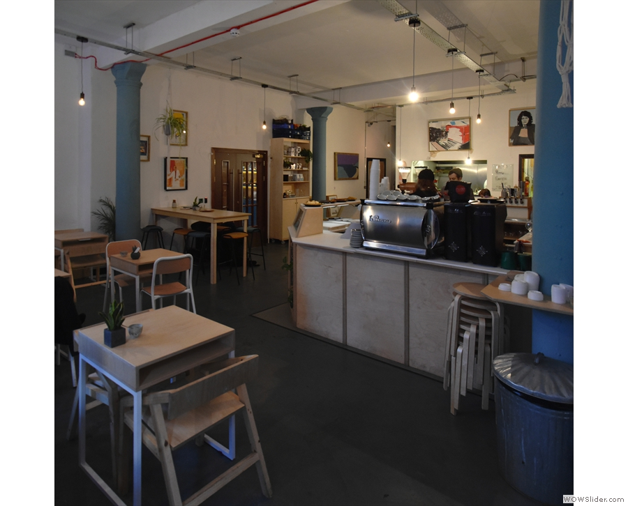 The counter is off to your right, towards the back of Idle Hands, the seating at the front.