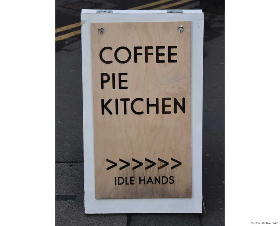 The old slogan of 'Coffee & Pie' has been upgraded to include 'Kitchen'.