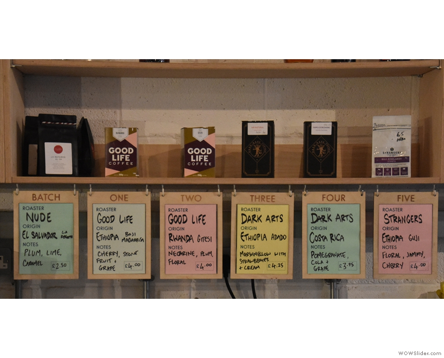 There's a bewildering choice of beans by the way. These are just the filter choices!
