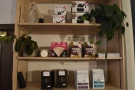 There's also a set of retail shelves, selling the usual range of coffee/coffee kit.