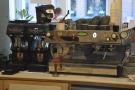 The customised La Marzocco GB5 is still there, I see, complete with paddle.