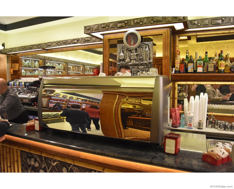 There are two main espresso machines, with each counter having its own.