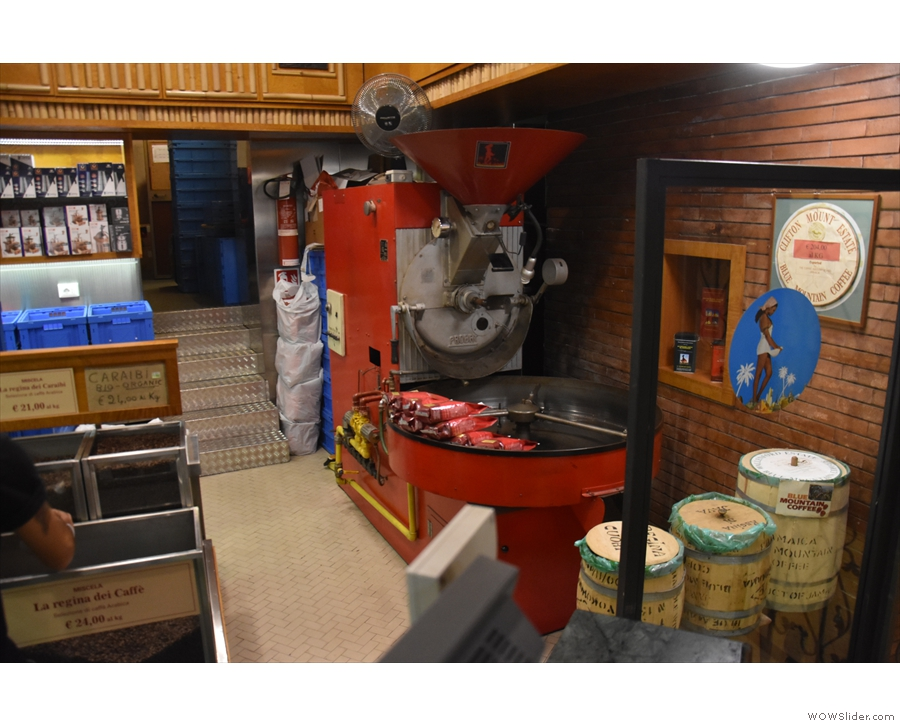 ... while off to the right is this bright red Probat roaster. I'm not sure if it's still used though.
