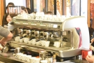 It's a poor photo, but here are eight cappuccinos being prepared at once!