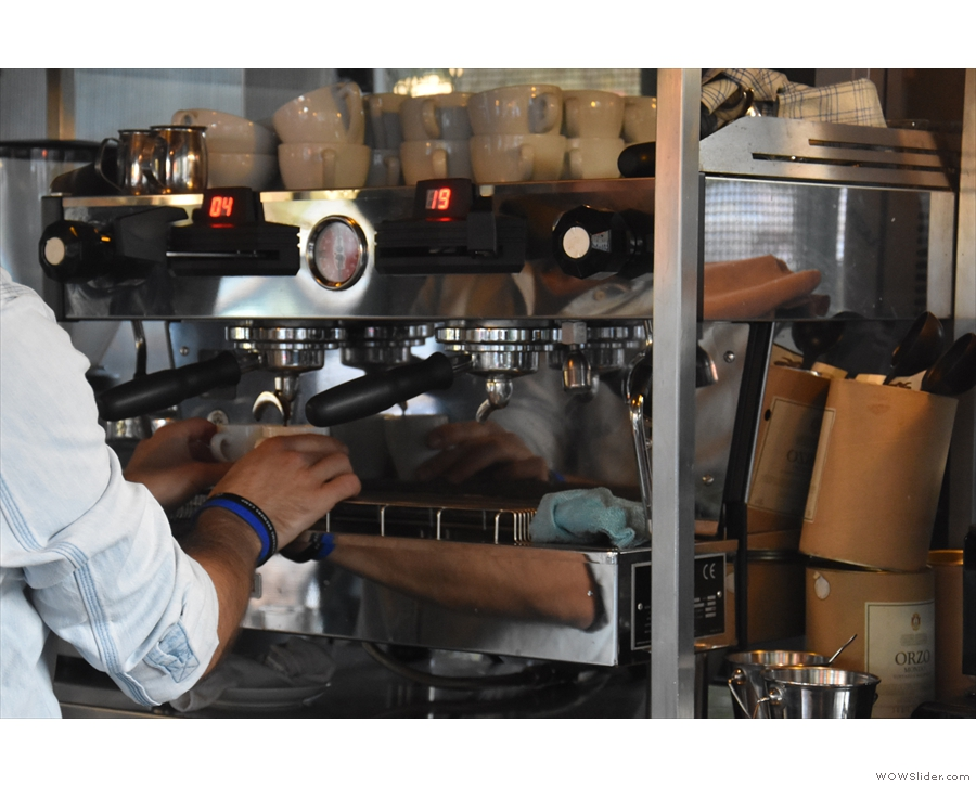 On our first stop, we went for espressos, being prepared here on the two-group...