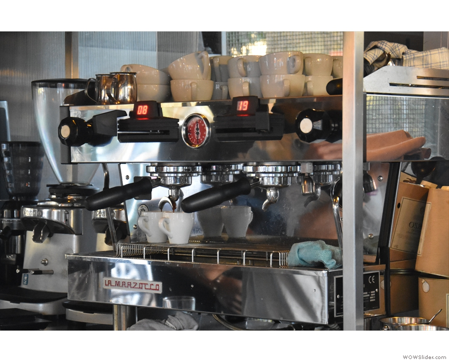 ... La Marzocco Linea, which has paddles instead of buttons.