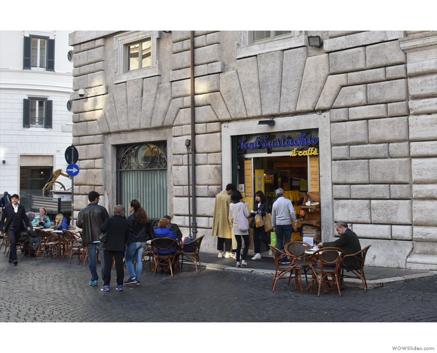 On Piazza Di Sant'Eustachio, west of the Pantheon in the heart of Rome, stands this...