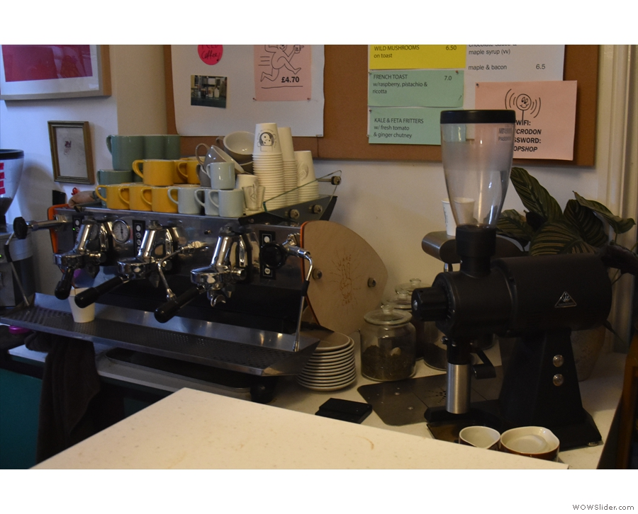 The coffee side of the operation is off to the right, starting with the EK-43 for filter...