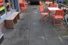 ... where you'll find a neat little outdoor seating area.