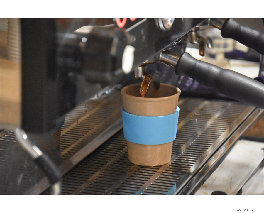 Unlike some of my bigger cups, it neatly fits under the espresso machine group head.