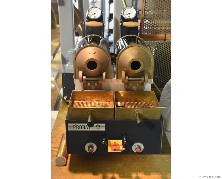 There is also a pair of Probat sample roasters.