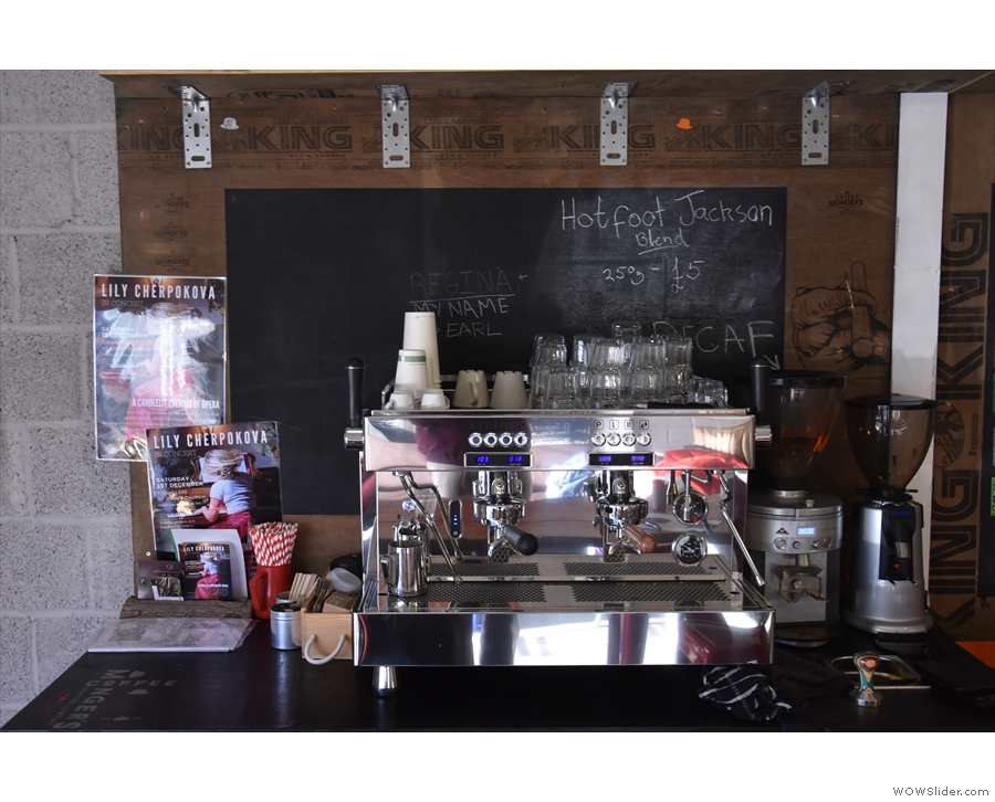 The two-group Rocket espresso machine has one of the blends, plus decaf, on each day.