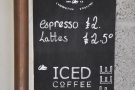 The menu, to the left of the espresso machine, is very simple.