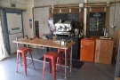 Another view of the counter area, with its own simple table.