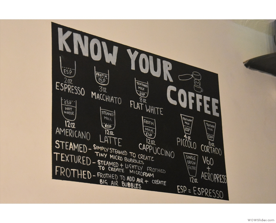 ... which is also on the wall to the left of the counter.