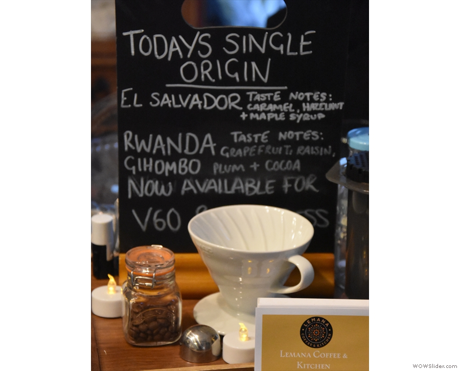 The biggest change, coffee-wise, is that Lemana now does single-origin pour-over.