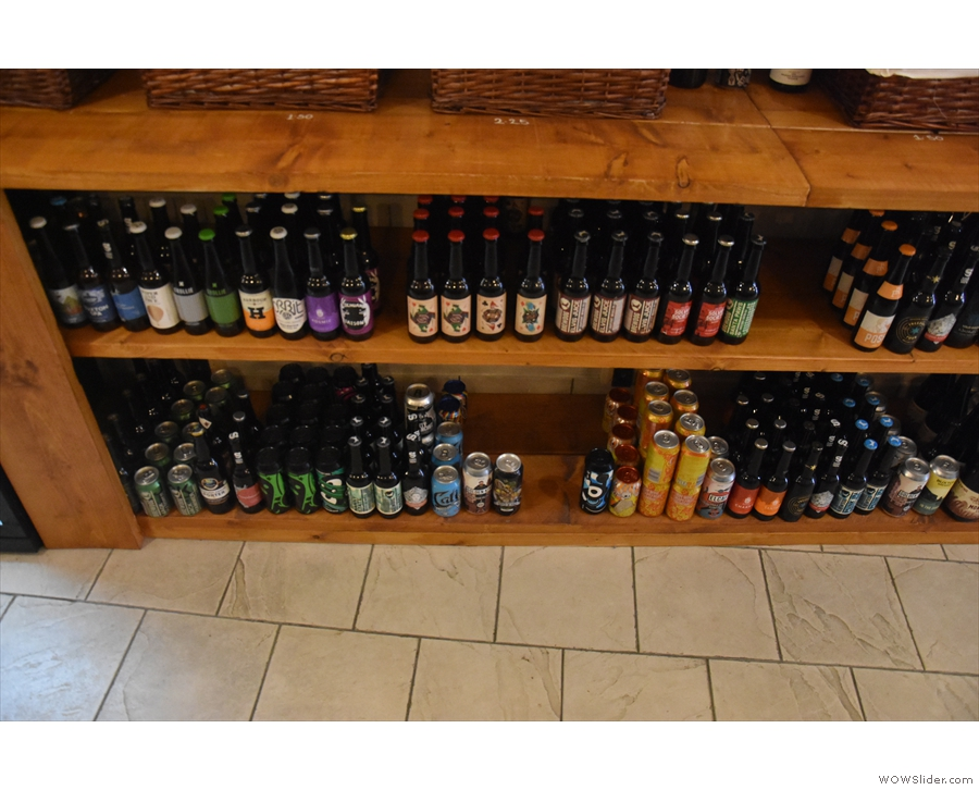 There are bottles of beer, cans of beer...