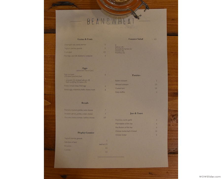 ... although the lunch and breakfast menus (I was too late for both) are on the tables.
