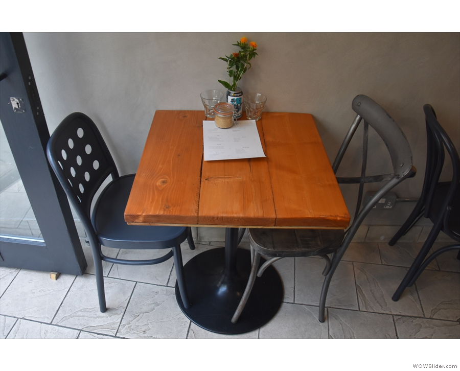 ... and ending at the door with this two-person table.
