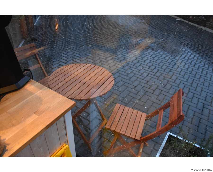 There is some outside seating (one table) but it was particularly wet while I was there!