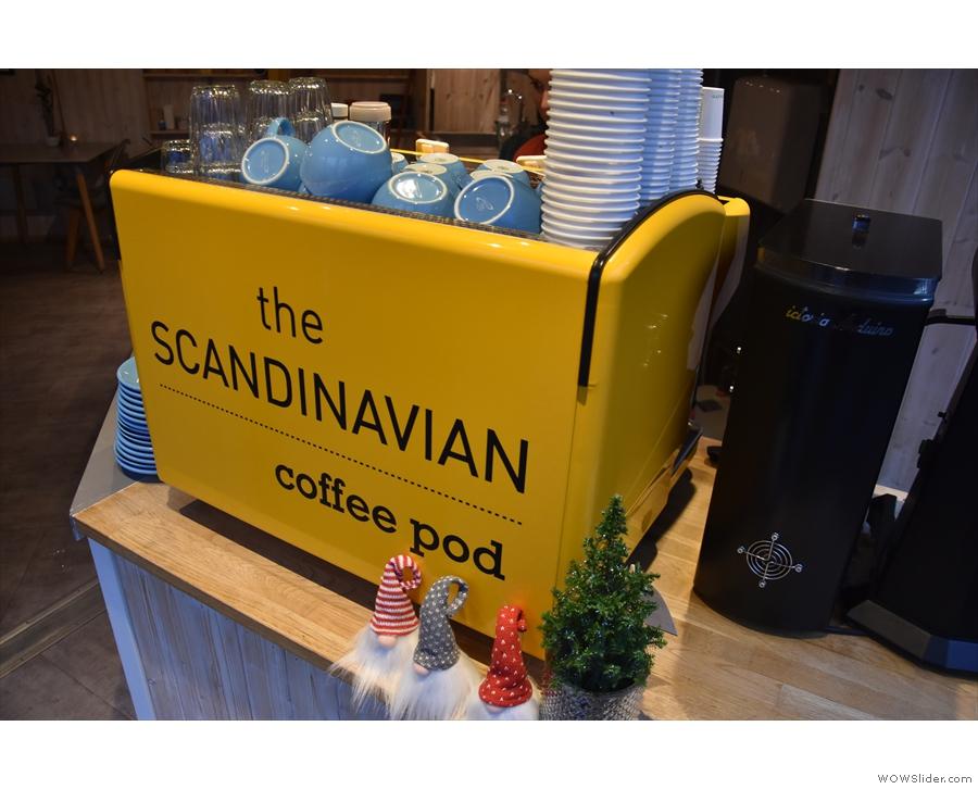 Espresso comes from the bright yellow espresso machine...