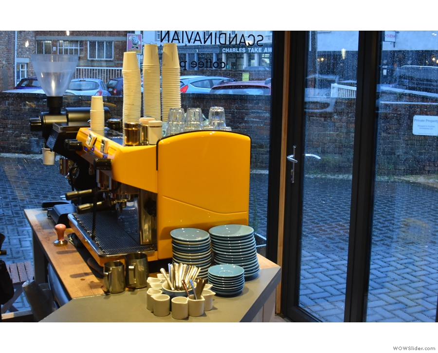 From the main part of the counter, you get a decent view of the espresso machine.