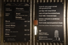 The concise coffee menu, complete with choice of beans (left) plus breakfast (right).