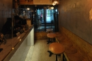 A view of the main seating area/counter from the back.
