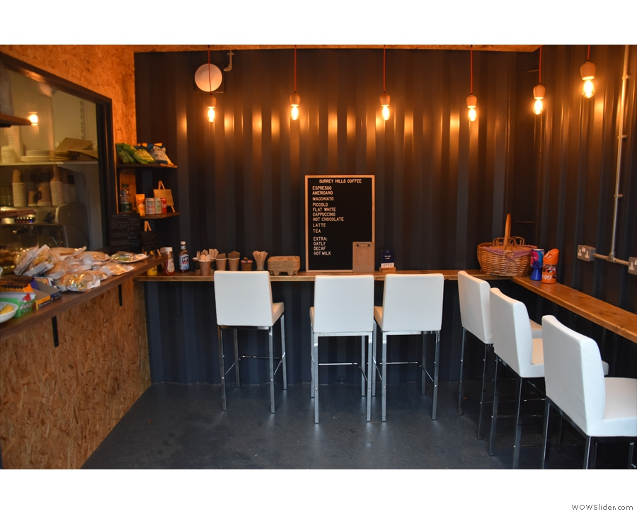 May: small, cosy and welcoming at Surrey Hills Coffee, London Square, Guildford.