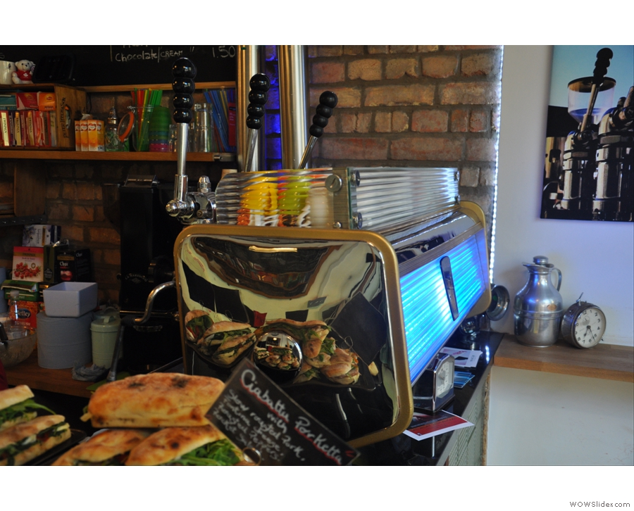 The oldest espresso machine in London is at Doctor Espresso's Caffetteria next to Putney Bridge Station