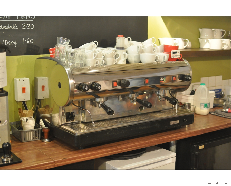 Or from the espresso machine. I might have had one of the last drinks from this machine: Gareth was expecting his new Linea A to arrive the next day!