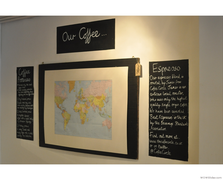 The map on the wall showing where the coffee was from was another nice touch.