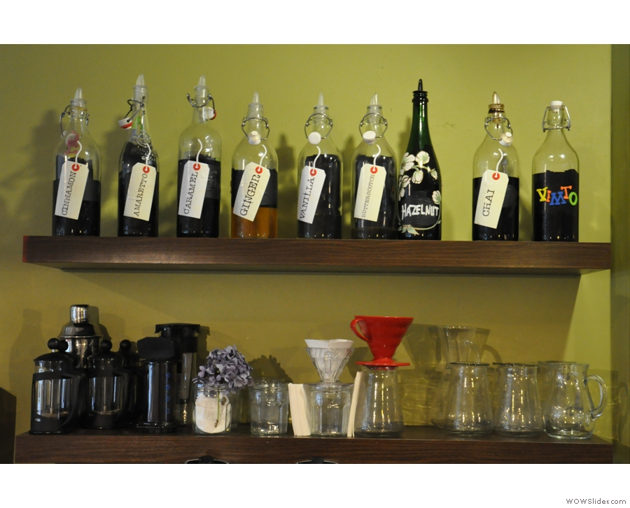 There are also plenty of options for how to make your coffee. And things to put in it...
