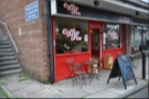 Coffee Fix in Gatley, at the end of a parade of shops with its own little layby for parking.