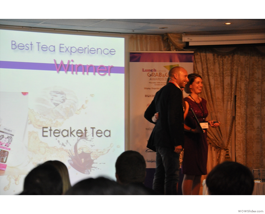 However, the winner was Edinburgh's Eteaket. Co-owner, Erica Moore, collects her award.