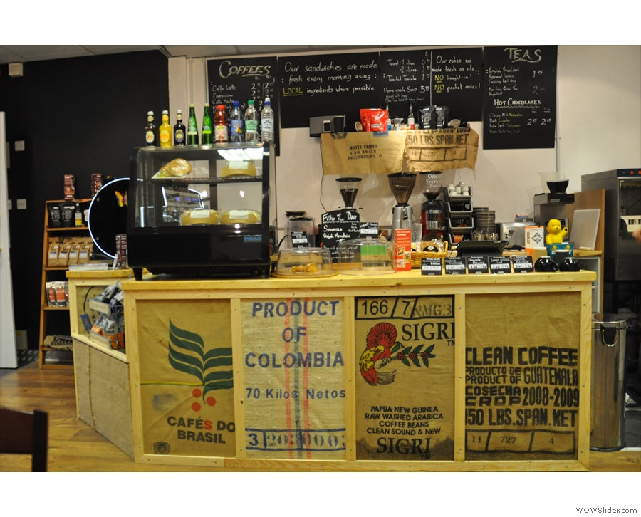A closer look at Barry's hand-built counter. I like the use of the coffee sacks for decoration.