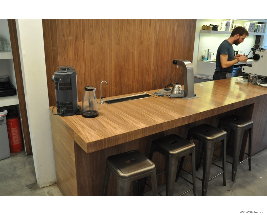 There's also a little bar at the end of the counter, where you can sit and watch the baristas at work.